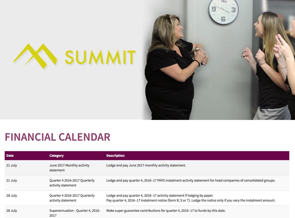 financial year calendar summit business support